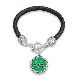 Marshall University Rope Leather Bracelet