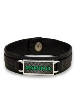 Marshall University The Herd Tile Black Leather Bracelet