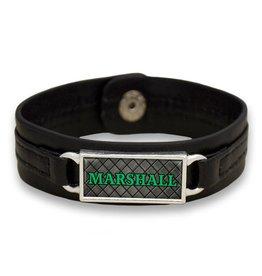 Marshall University The Herd Tile Black Leather Bracelet