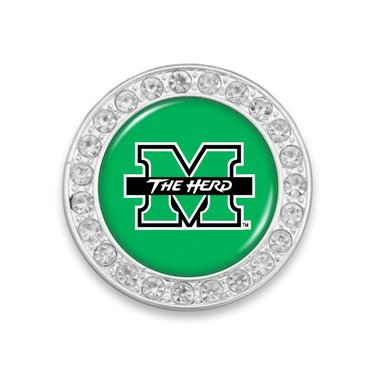 Marshall University Crystal Circle Brooch