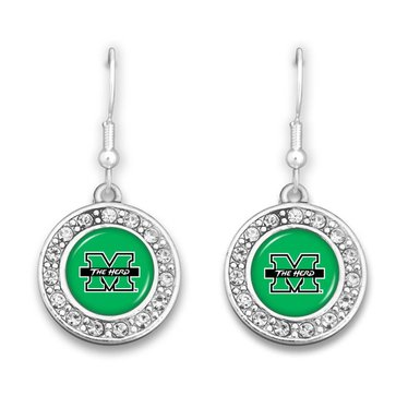 Marshall University Small Crystal Circle Earrings