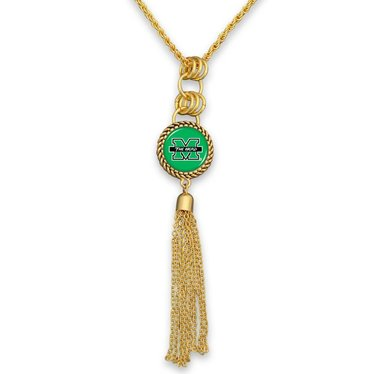 Marshall University Gold Tassel Necklace