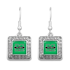 Marshall University The Herd Geometric Square Earrings