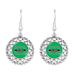 Marshall University Heart Trimmed Earrings