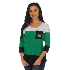 UG Apparel University Girls Marshall University 3/4 Sleeve Colorblock Tee