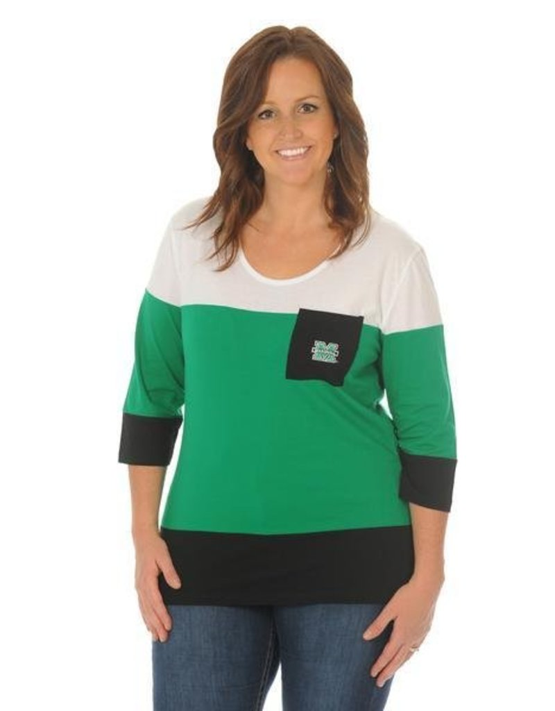 UG Apparel University Girls Marshall Plus 3/4 Sleeve Colorblock Tee