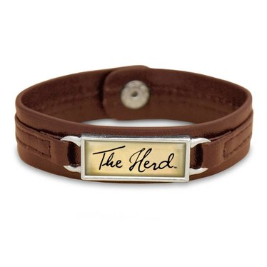 Marshall University The Herd Script Brown Leather Bracelet