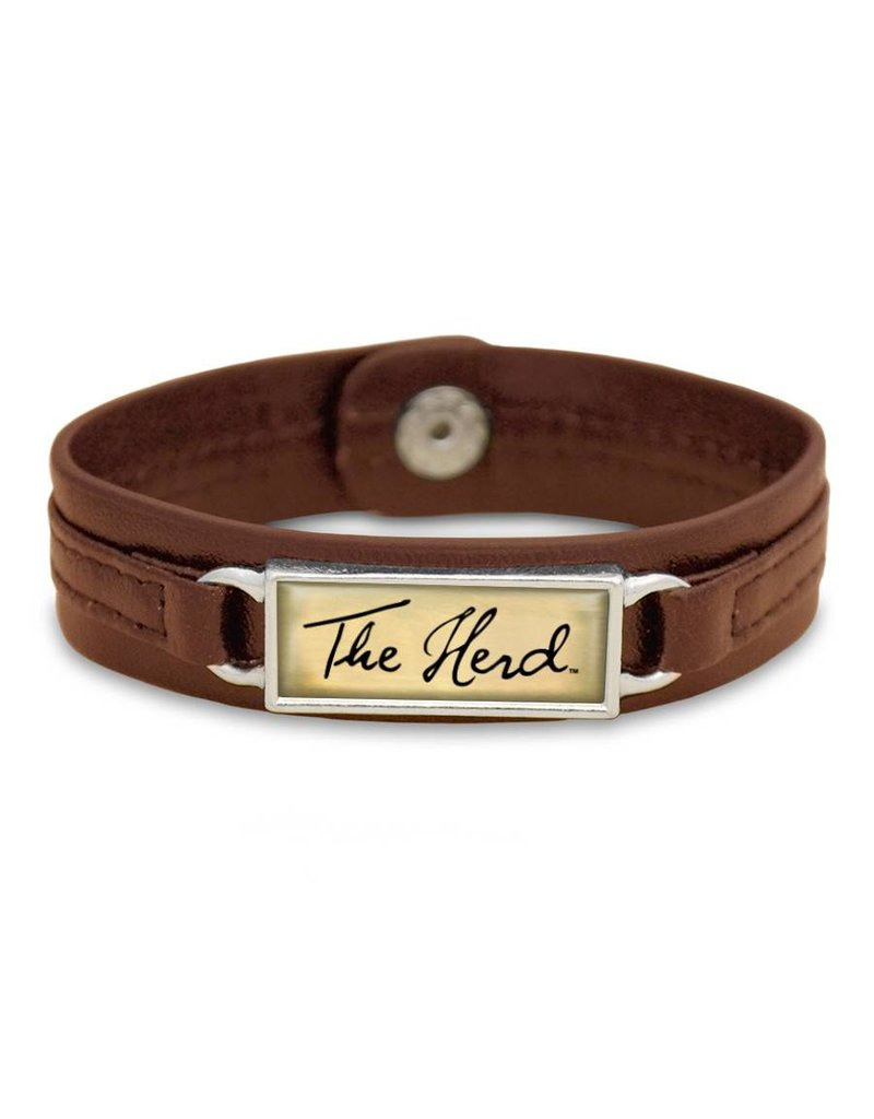 Marshall University The Herd Script Brown Leather Bracelet