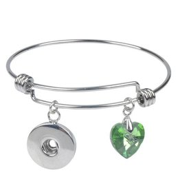 Crystal Heart Snap Bangle