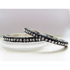 Black Rhinestone Bangle Set