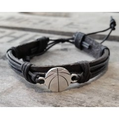 Leather Basketball Bracelet