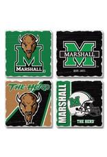 Marshall University Tumbled Tile Coaster Set