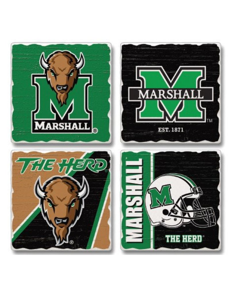 Marshall University Tumbled Tile Coaster Set