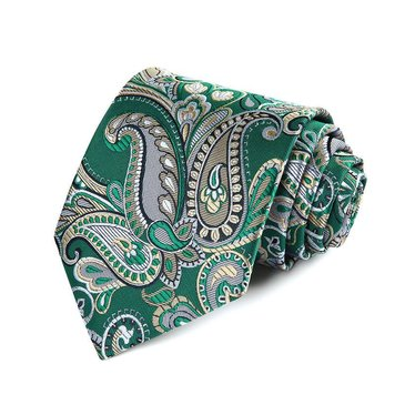 Green and Gold Paisley Tie