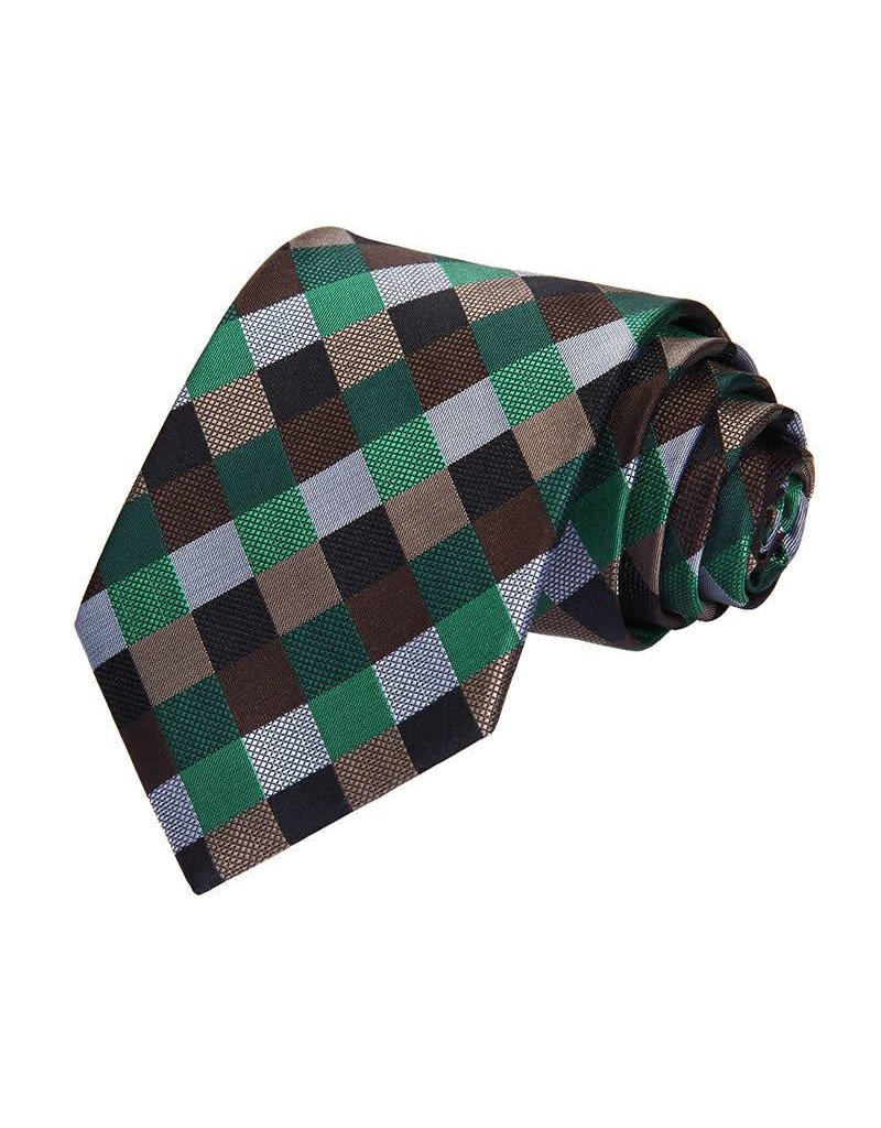 Green and Brown Check Tie