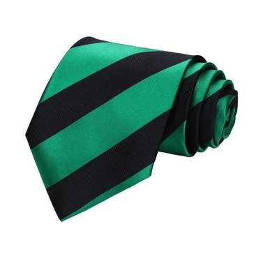 Green and Black Rep Stripe Tie