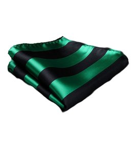 Green and Black Rep Stripe Pocket Square