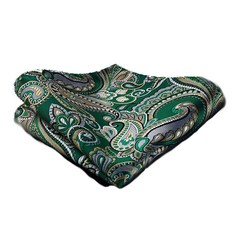 Green and Gold Paisley Pocket Square