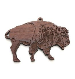 Black Walnut Wood Bison Ornament