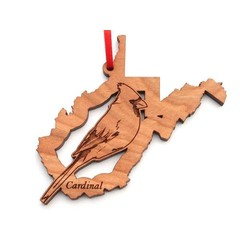 Black Cherry WV State Cardinal Ornament