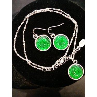 Green Disc Earrings
