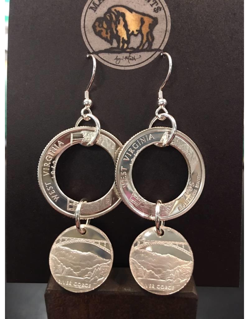 Making Cent$ WV Quarter Chandelier Silver Earrings