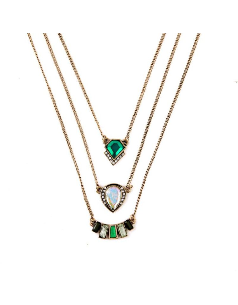 Three Strand Deco Necklace