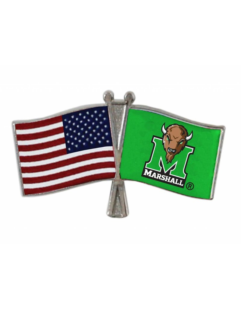 Marshall University/USA Crossed Flag Lapel Pin