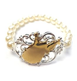 WV Filigree Pearl Stretch Bracelet
