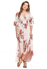 Cream Flower Faux Wrap Dress