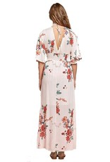 Cream Flower Faux Wrap Dress