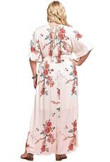 Cream Flower Faux Wrap Dress, Plus