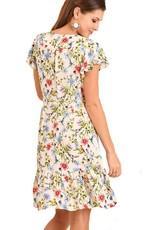 Floral Print Ruffle Wrap Dress