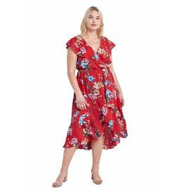 Ruffled Midi Wrap Dress, Plus