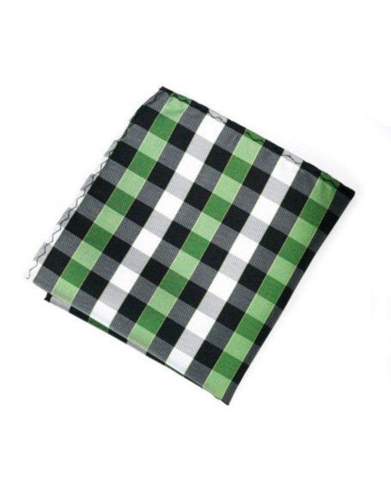 Black & Green Plaid Silk Pocket Square