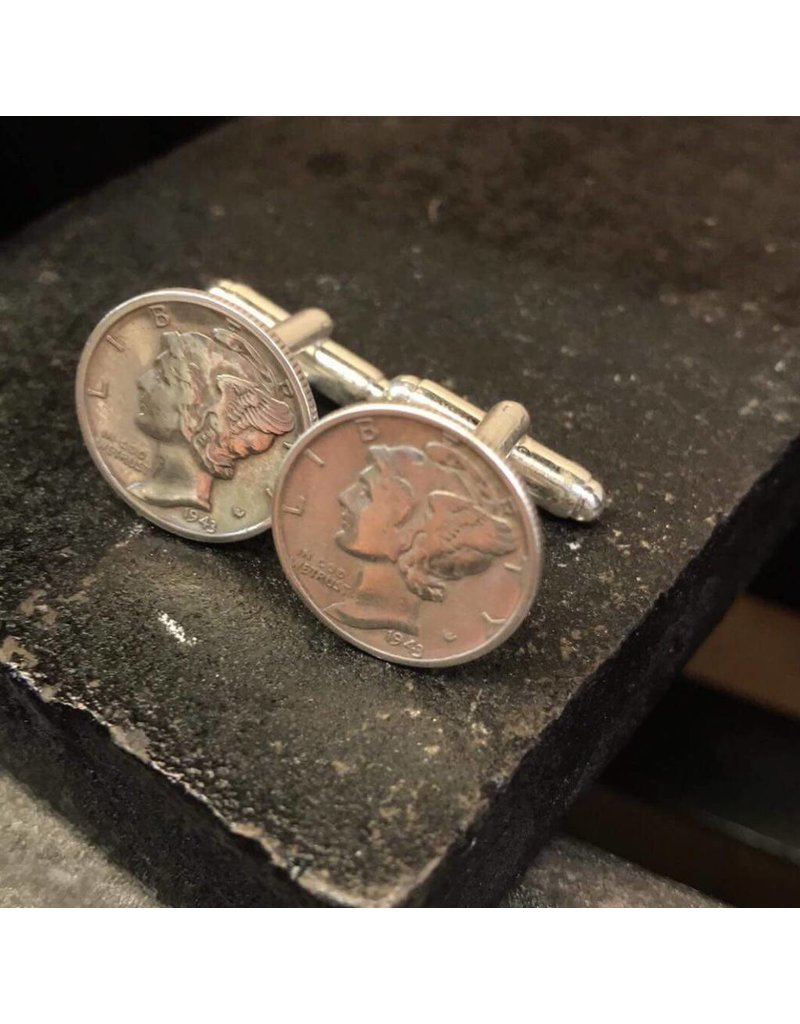 Making Cent$ Mercury Dime Cuff Links