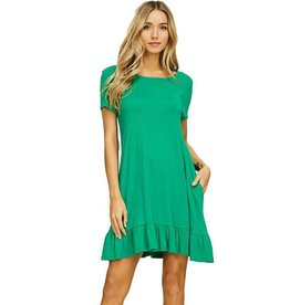 Short Sleeve Ruffle Hem Dress-Plus