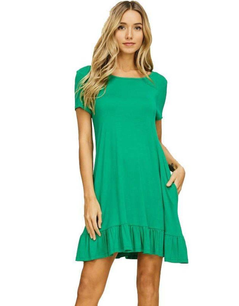Short Sleeve Ruffle Hem Dress-Plus
