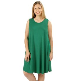 Round Hem Sleeveless Mini Dress-Plus
