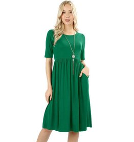 Round Neck Pleated Dress-Plus