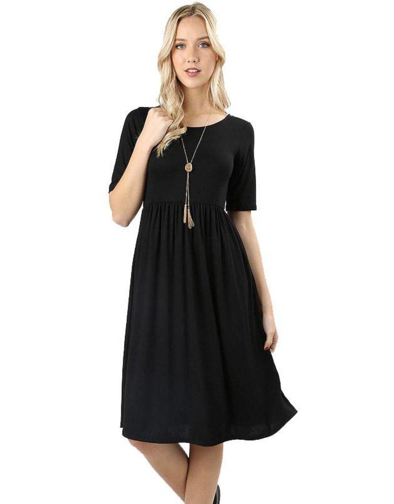 Round Neck Pleated Dress-Plus