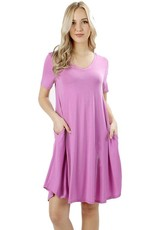 Short Sleeve Rounded Hem Dress