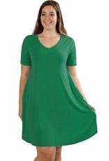 Short Sleeve Rounded Hem Dress-Plus