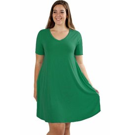 Short Sleeve Rounded Hem Dress-Plus