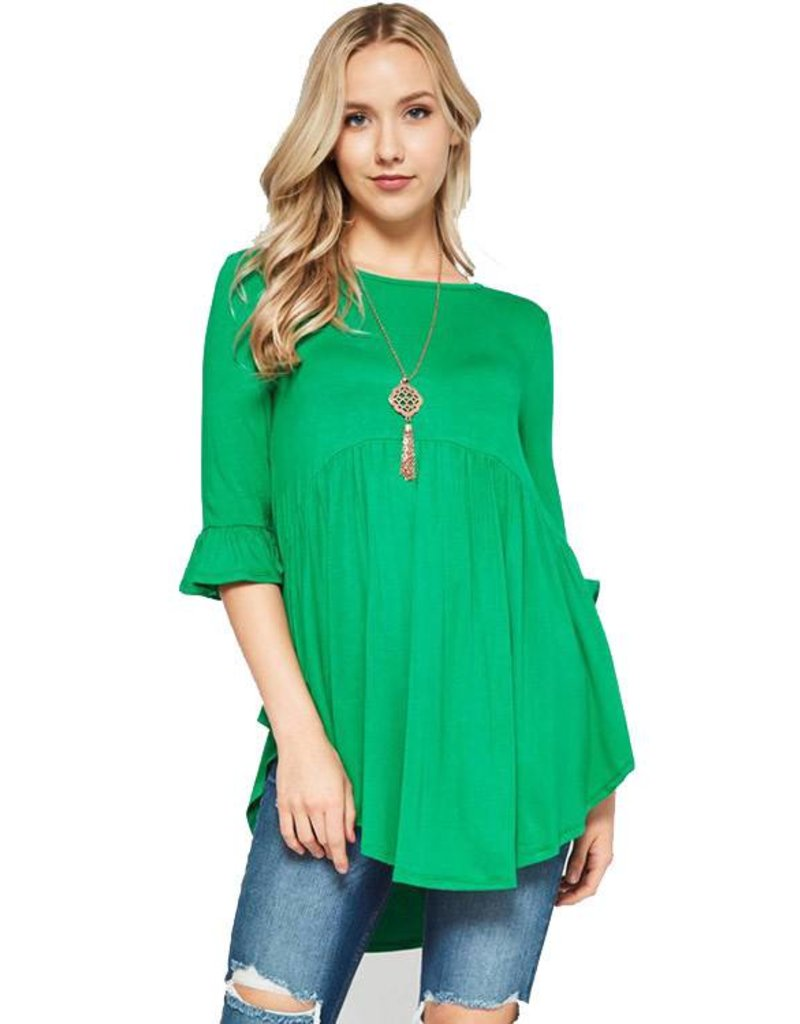 Solid Babydoll Tunic Top-Plus