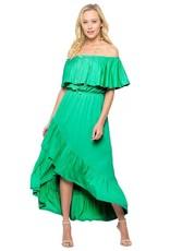 Off Shoulder Ruffle Wrap Dress-Plus