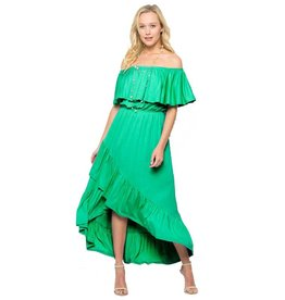 Off Shoulder Ruffle Wrap Dress-Plus