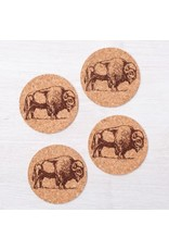 Bison Cork Coasters- Set of 4