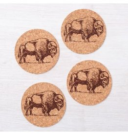Bison Cork Coasters- Set of 4