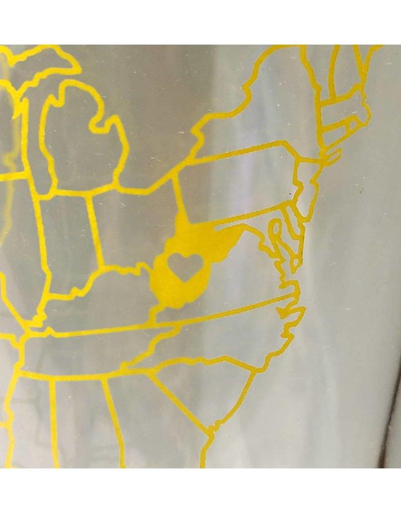 West Virginia US Map Pint - Old Main Emporium